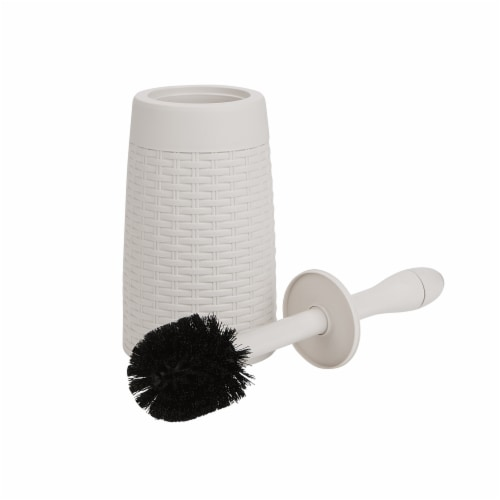 Mind Reader Round Toilet Brush with Holder - Ivory Perspective: front