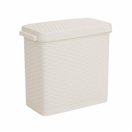 Mind Reader Slim Bathroom Trash Bin with Lid - Ivory Perspective: front
