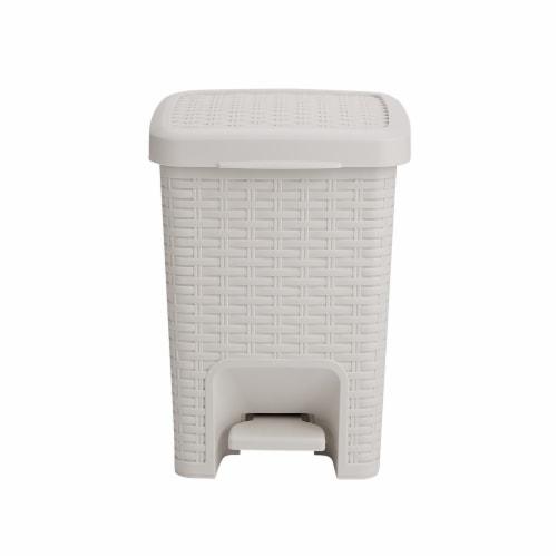 Mind Reader Square Pedal Bathroom Trash Bin - Ivory Perspective: front