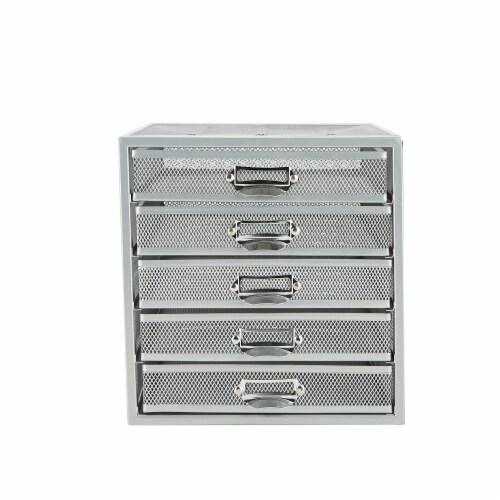 Mind Reader 5 Drawer Metal Mesh Storage Cabinet - Silver Perspective: front
