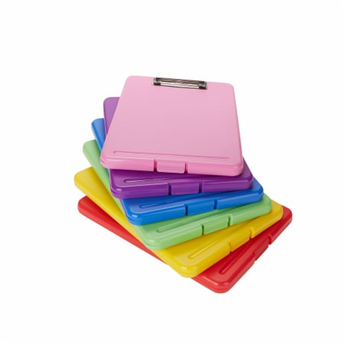 Mind Reader Multi-Pack Clipboards With Storage 6-Pack - Multiple Colors Perspective: front
