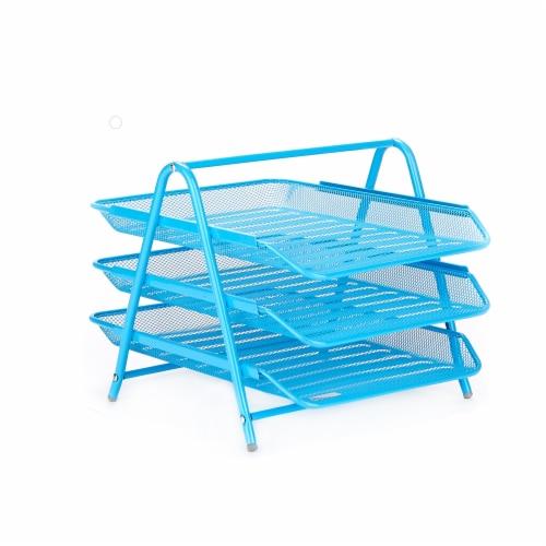 Mind Reader 3-Tier Mesh Paper File Tray Desk Organizer - Blue Perspective: front