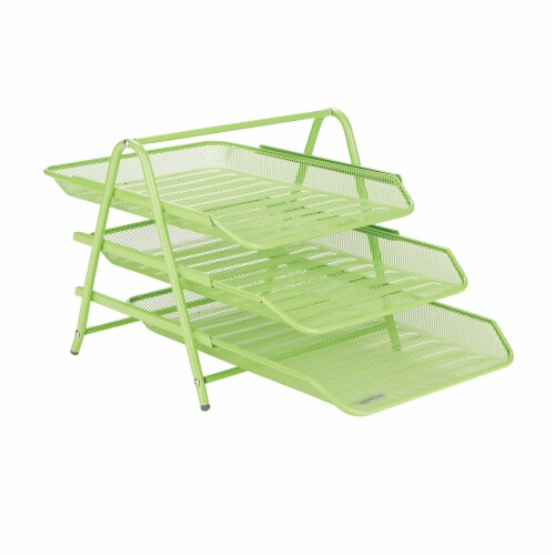 Mind Reader 3-Tier Mesh Paper File Tray Desk Organizer - Green Perspective: front