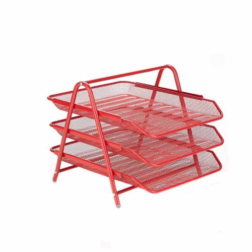 Mind Reader 3-Tier Mesh Paper File Tray Desk Organizer - Red Perspective: front
