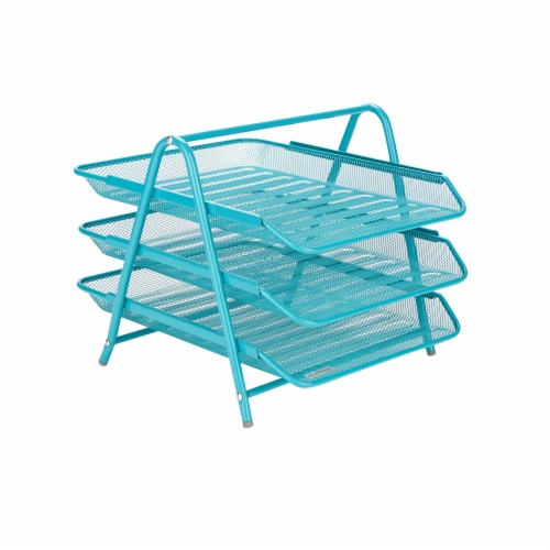Mind Reader 3-Tier Mesh Paper File Tray Desk Organizer - Turquoise Perspective: front