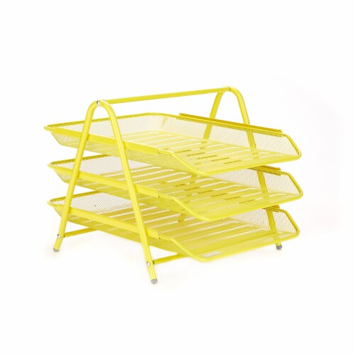 Mind Reader 3-Tier Mesh Paper File Tray Desk Organizer - Yellow Perspective: front
