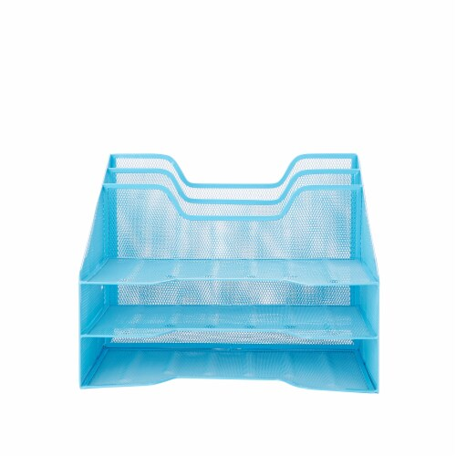 Mind Reader 5 Compartments Desk Organizer Tray - Blue Perspective: front