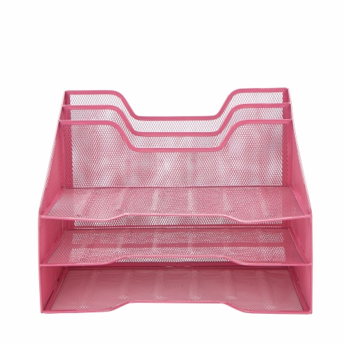 Mind Reader 5 Compartments Desk Organizer Tray - Pink Perspective: front