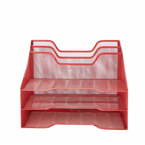 Mind Reader 5 Compartments Desk Organizer Tray - Red Perspective: front