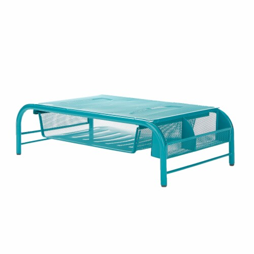 Mind Reader Metal Mesh Monitor Stand and Desk Organizer with Drawer - Turquoise Perspective: front