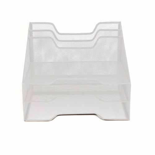 Mind Reader 5 Compartments Desk Organizer Tray - White Perspective: front