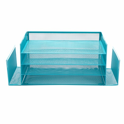 Mind Reader 6-Compartment Desk Organizer - Turquoise Perspective: front