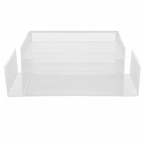 Mind Reader 6-Compartment Desk Organizer - White Perspective: front