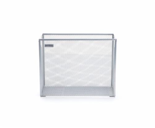 Mind Reader Metal Mesh File Organizer Storage Basket - Silver Perspective: front