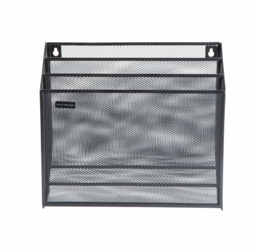 Mind Reader 3-Tier Mesh Free Standing and Wall File Holder - Black Perspective: front