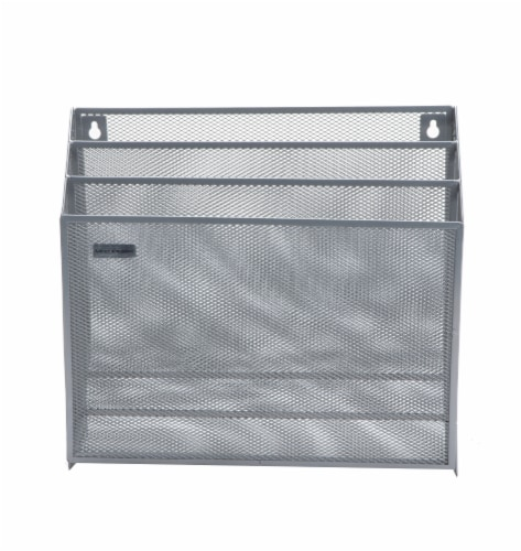 Mind Reader 3-Tier Mesh Free Standing and Wall File Holder - Silver Perspective: front