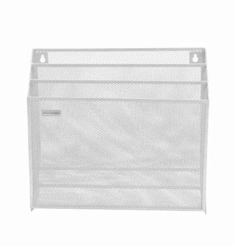 Mind Reader 3-Tier Mesh Free Standing and Wall File Holder - White Perspective: front
