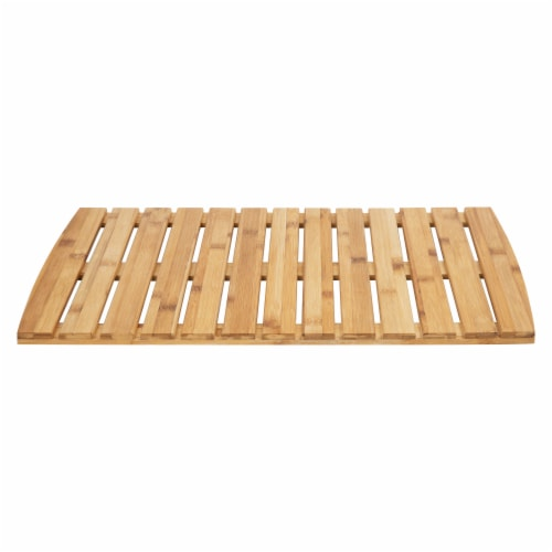Mind Reader Bamboo Anti-Slip Bath Mat Perspective: front