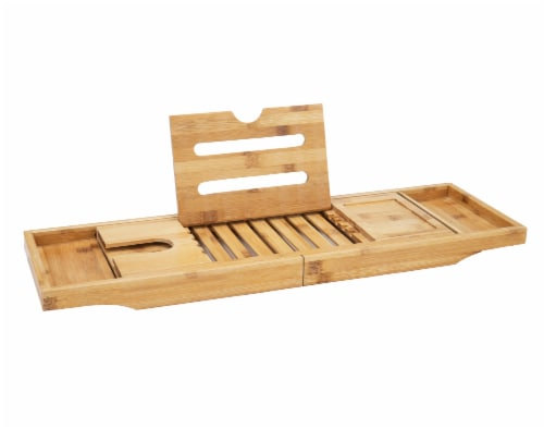 Mind Reader Luxury Extendable Bamboo Bath Caddy - Brown Perspective: front