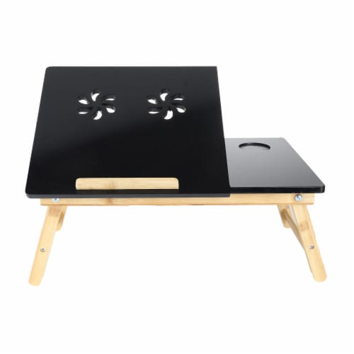 Mind Reader Coolpad Laptop Flip Top Adjustable Desk Tray - Black/Brown Perspective: front