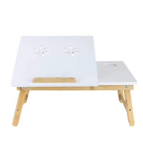 Mind Reader Coolpad Laptop Flip Top Adjustable Desk Tray - White/Brown Perspective: front