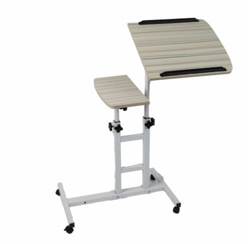 Mind Reader Adjustable Height Rolling Standing Desk - Brown/White Perspective: front