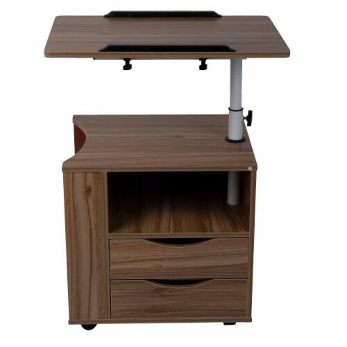 Mind Reader Bedside Workstation Adjustable Swivel Desk - Brown Perspective: front