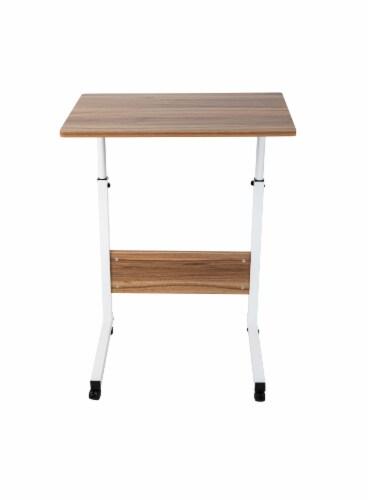 Mind Reader Adjustable Height Rolling Laptop Desk Table - Brown/White Perspective: front