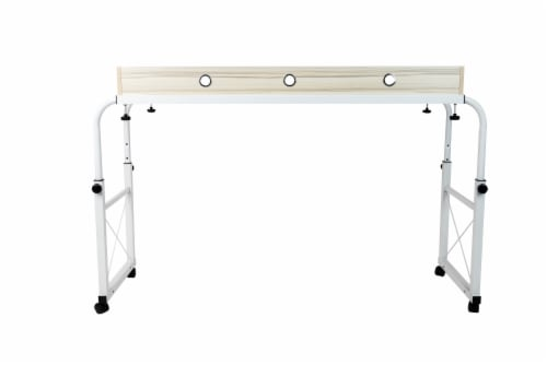 Mind Reader Over Bed Rolling Adjustable Desk - White Perspective: front