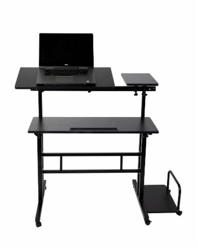 Mind Reader Large Rolling Sitting and Standing Reversible Workstation Desk - Black Perspective: front