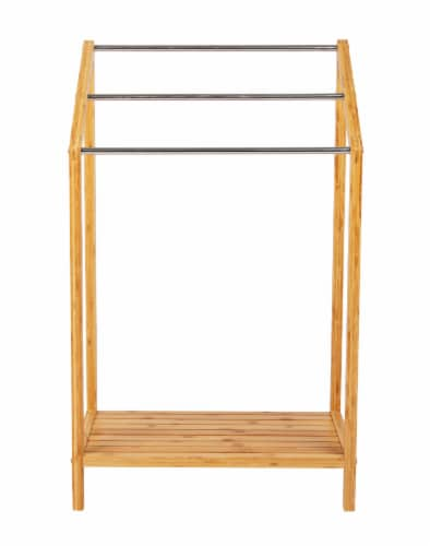 Mind Reader 3-Tier Freestanding Bamboo Drying Rack with Bottom Shelf Perspective: front