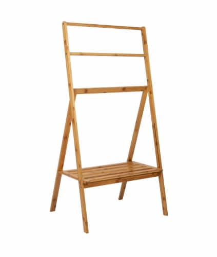 Mind Reader Freestanding Bamboo Drying Rack with Shelf Perspective: front
