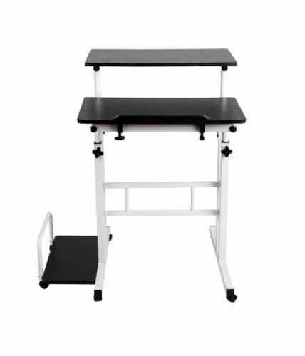 Mind Reader Rolling Sitting and Standing Reversible Workstation Desk - Black/White Perspective: front