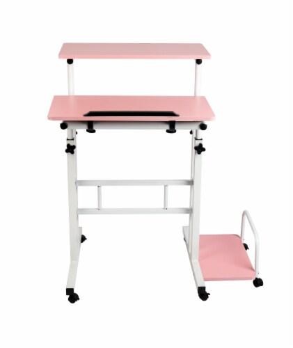 Mind Reader Rolling Sitting and Standing Reversible Workstation Desk - Pink/White Perspective: front