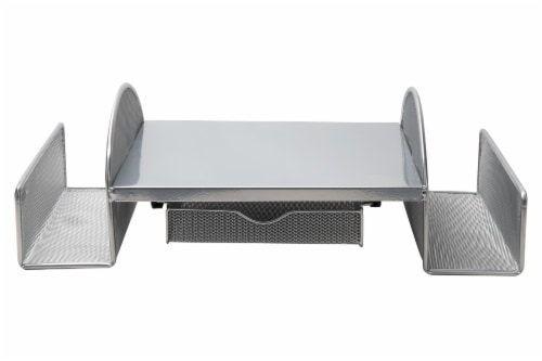 Mind Reader Mesh Monitor Stand with Side Storage - Silver Perspective: front
