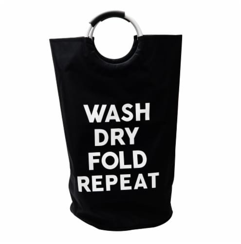Mind Reader Foldable Cloth Laundry Bag With Handles - Black Perspective: front