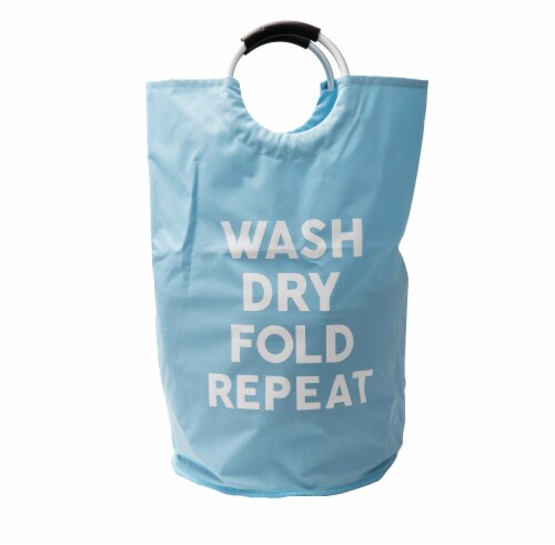 Mind Reader Foldable Cloth Laundry Bag With Handles - Blue Perspective: front