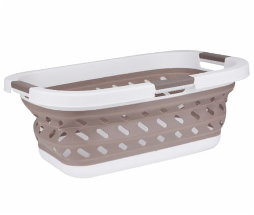 Mind Reader Plastic Collapsible Laundry Basket - Brown Perspective: front