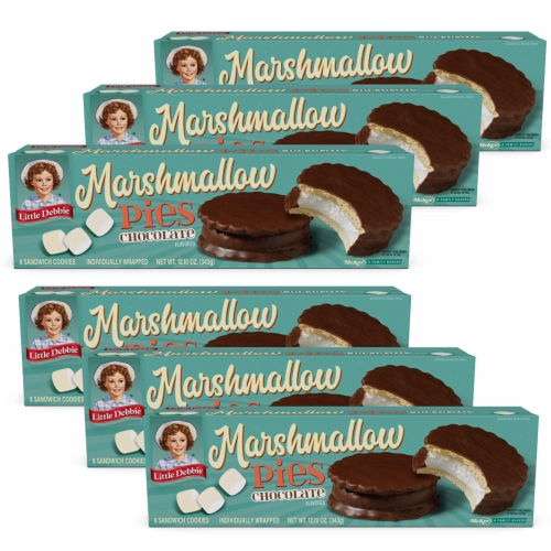 Chocolate Marshmallow Pies, 6 Boxes, 48 Individually Wrapped Chocolate Creme Pies Perspective: front