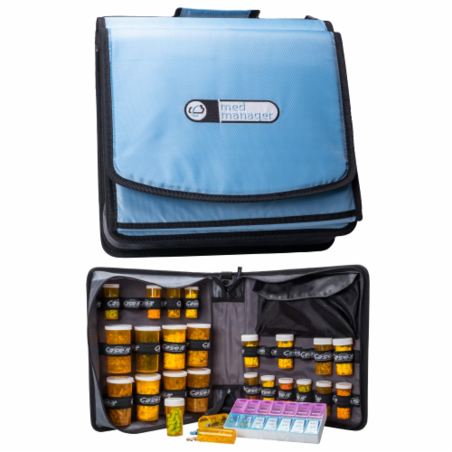 Med Manager XL Medicine Organizer and Pill Case, Holds (25) Pill Bottles, Light Blue Perspective: front