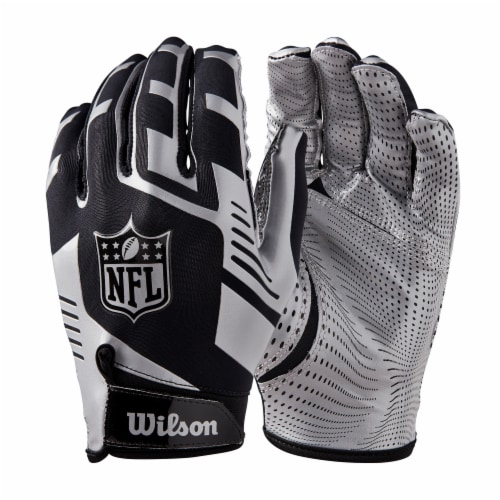 Wilson Youth One Size Football Gloves - Silver Perspective: front