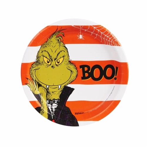 BuySeasons 257591 7 in. Dr. Seuss Halloween Dessert Plates - 8 Piece Perspective: front