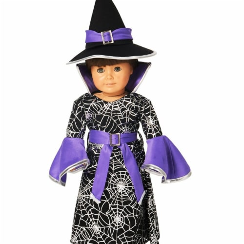 Partytime 248206 Spider Web Silver Printed Witch 18 in. Doll Costume - Standard Perspective: front