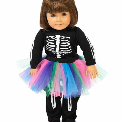 Partytime 248265 Skeleton Tutu 18 in. Doll Costume - Standard Perspective: front