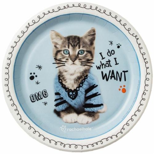 BuySeasons 264115 Rachael Hale Cats Rule Dessert Plates - 8 Piece Perspective: front