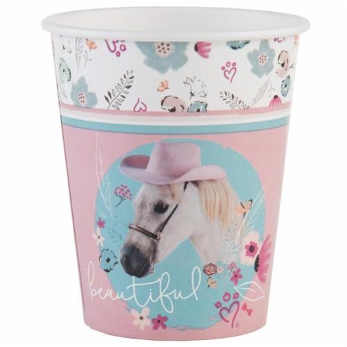 BuySeasons 265022 9 oz Rachael Hale Beautiful Horse Paper Cups - 16 Piece Perspective: front