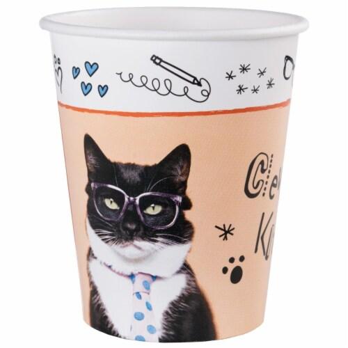 BuySeasons 265034 9 oz Rachael Hale Cats Rule Paper Cups - 16 Piece Perspective: front