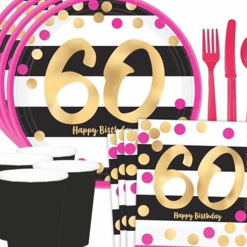 Costume Supercenter 608773 Metallic Pink & Gold 60th Birthday Dessert Standard Tableware Kit Perspective: front