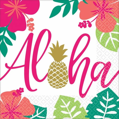 BirthdayExpress 269349 You Had Me at Aloha Lunch Napkins - 48 Piece Perspective: front