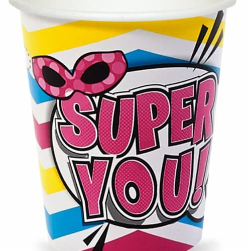 BuySeasons 305865 Super Hero Girls Party Paper Cups - Pack of 8 Perspective: front